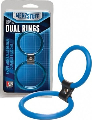 Кольцо двойное (на пенис и мошонку) синее Dual Rings Blue, фото 3
