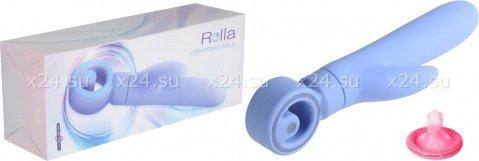 Вибратор с клиторальным стимулятором, синий, 7 режимов вибрации, фото 2