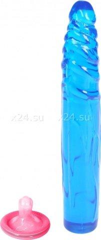 Фаллоимитатор гель синий 17,8 см