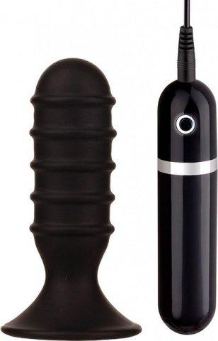 Вибратор ребристый черный menzstuff ribbed torpedo vibr. 4inch blk 8,5 см