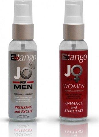 Набор любрикантов для мужчин и женщин JO 2-to-Tango Box 2 x 75 мл