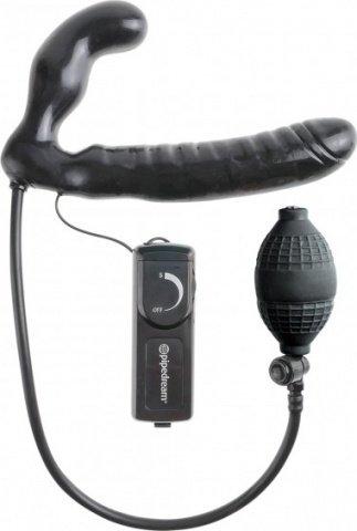 Безремневой страпон с увеличением объема и вибрацией Inflatable Vibrating Strapless Strap-On 16 см, фото 4