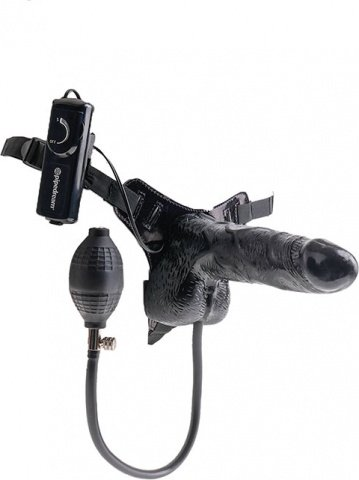 Надувной вибро-страпон Inflatable Vibrating 6'' Strap-On 13 см, фото 5