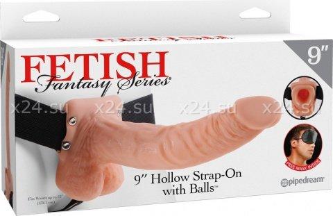 Длинный фаллопротез-страпон 9'' Hollow Strap-On with Balls 24 см, фото 3