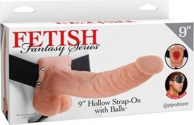 Длинный фаллопротез-страпон 9'' Hollow Strap-On with Balls 24 см, фото 5