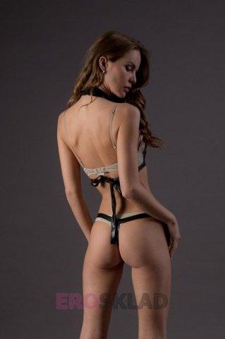 Комплект в стиле бдсм - leg avenue, цвет черный, размер s/m, фото 3