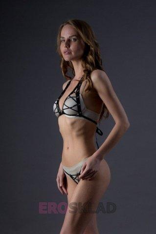 Комплект со шнуровкой и бондажом - Leg Avenue, цвет Черный, размер S/M, фото 3