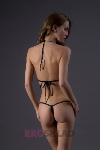 Комплект со шнуровкой и бондажом - Leg Avenue, цвет Черный, размер S/M, фото 4
