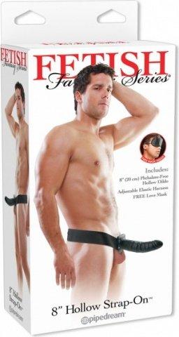 страпон ff hollow strap on black 21 см, фото 2