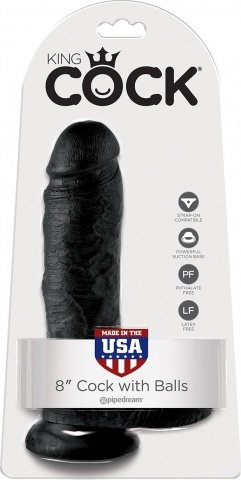 Cock 8 inch w/ balls black, фото 2