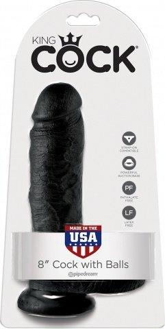 Cock 8 inch w/ balls black, ���� 2
