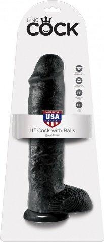 Cock 11 inch w/ balls black, фото 2