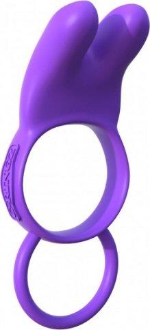 Эрекционное кольцо Twin Teazer Rabbit Ring на пенис и мошонку фиолетовое с вибрацией
