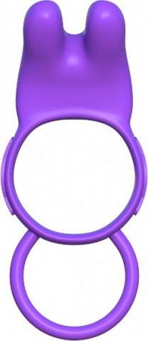 Эрекционное кольцо Twin Teazer Rabbit Ring на пенис и мошонку фиолетовое с вибрацией, фото 4