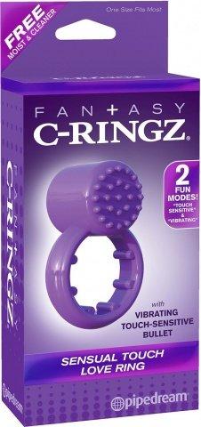 Эрекционное кольцо Sensual Touch Love Ring фиолетовое с вибрацией, фото 2