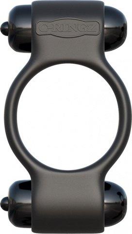 Эрекционное кольцо Magic Touch Couples Ring с 2-мя виброэлементами черное, фото 2