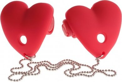 Vibrating heart pasties red