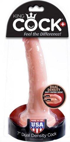 Фаллоимитатор King Cock + Dual Density 7 Cock - Flesh телесный на присоске 16 см, фото 4