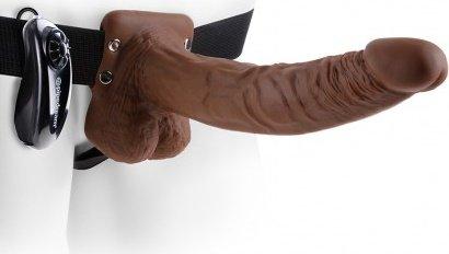 Vibr strap-on w balls 9'' brown