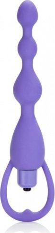 силиконовая анальная елочка с вибрацией pleasure beads purple 1329-30cdse, фото 2