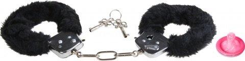 Металлические наручники с черным мехом Furry Fun Cuffs, фото 2