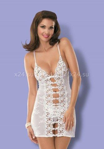 Белая эротичная сорочка со стрингами Bride Chemise