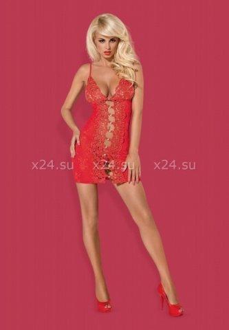 Красная эротичная сорочка со стрингами Bride Chemise, фото 2