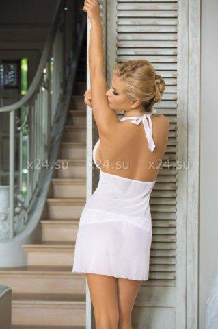 Белый прозрачный пеньюар со стрингами, фото 2