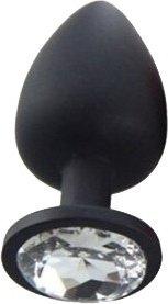 Пробка силиконовая черная с прозрачным стразом 7,1 х2,8 см