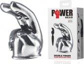Насадка на вибромасажер Power Head в виде 2-х пальцев 11см, глубина проникновения 6,8см, диаметр 3,9см. 11см, глубина проникновения 6,8см, диаметр 3,9см. - Секс-шоп Мир Оргазма