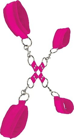 Комплект для бондажа Velcro hand and leg cuffs Pink SH-OU052PNK