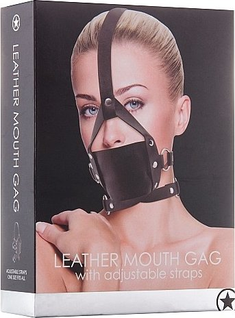 кляп leather mouth black ouch! sh-ou148blk, фото 2