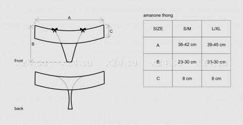 Чёрно-малиновые трусики с кружевом Amarone Thong SM, фото 7