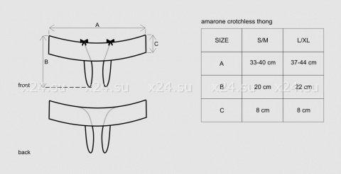 Открытые чёрно-малиновые трусики Amarone Crotchless Thong SM, фото 7