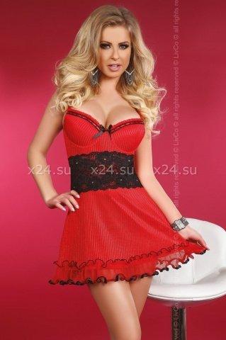 Красное платье с чёрной вставкой на талии Callidora