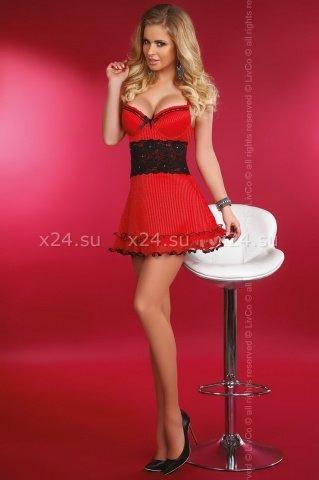 Красное платье с чёрной вставкой на талии Callidora, фото 2
