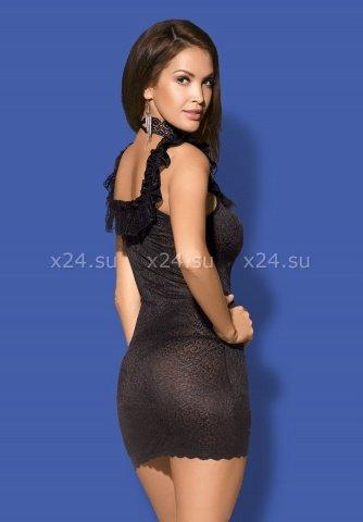 Черное платье с открытыми плечами и вырезом на груди с украшением Diamond Chemise, фото 2
