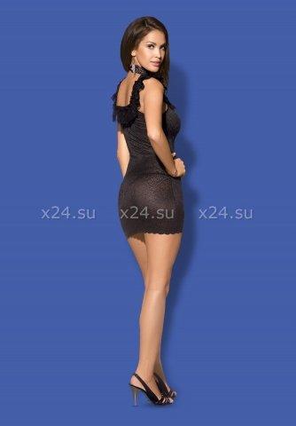 Черное платье с открытыми плечами и вырезом на груди с украшением Diamond Chemise, фото 4