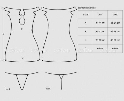 Черное платье с открытыми плечами и вырезом на груди с украшением Diamond Chemise, фото 7