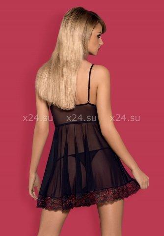 Черная прозрачная сорочка на косточках с кружевом Musca Babydoll, фото 2