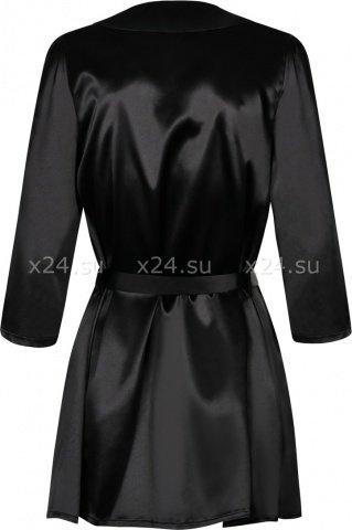 Черный атласный халатик с кружевом на рукавах Satina Robe, фото 3