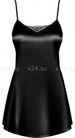 Черная атласная сорочка с пояском Satina Babydoll, фото 2