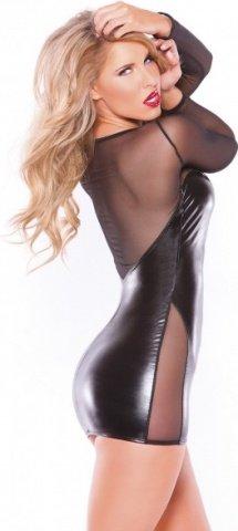 Платье с прозрачными вставками Wetlook & Mesh Dress - Allure, цвет Черный, размер One Size, фото 2