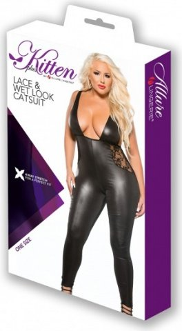 Plunging side lace catsuit, фото 2