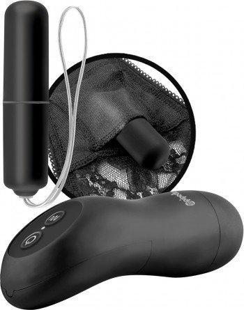 Вибростимулятор клитора Remote Control Vibrating Panty с трусиками Plus Size черный