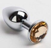 Анальная пробка серебро со вставкой желтый страз 47019 | Анальные пробки с кристаллом | Секс-шоп Мир Оргазма