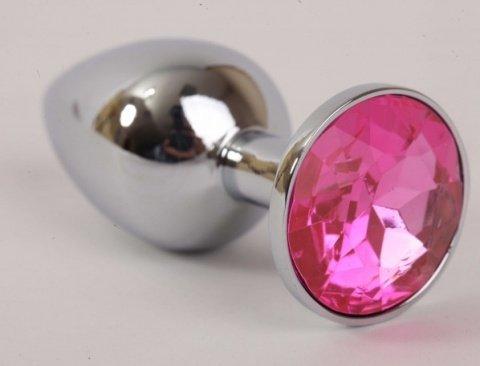 Анальная пробка серебро со вставкой розовый страз S 47021