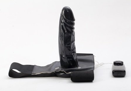 Страпон с вибрацией черный 47040 18 см