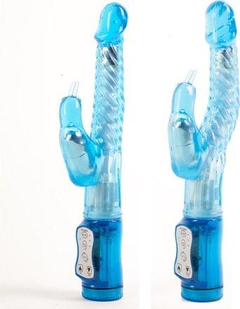 Виброкомпьютер синий гнущийся с клиторальной стимуляцией 47051