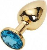 Анальная пробка золотая с голубым кристаллом 2,8 х 7,6 47057 | Анальные пробки с кристаллом | Секс-шоп Мир Оргазма